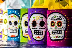 Traditional mexican day of the dead symbols. Photograph of some skulls and mexican symbols of traditional day of the dead celebration Stock Images