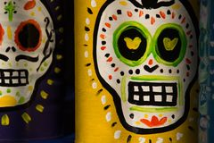 Traditional mexican day of the dead symbols. Photograph of some skulls and mexican symbols of traditional day of the dead celebration Stock Image