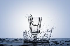 A photograph of a spike in alcohol in a vintage glass. Stock Image