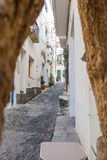 Cadaqués street. Photograph of a street in Cadaqués, Catalonia, Spain Royalty Free Stock Image