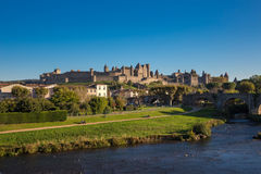 Cacassonne river view. Photograph of strenght complex in Carcassonne, France Stock Photos