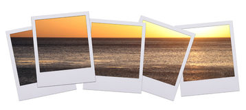 Photograph sunset. Panorama of polaroid pictures with sunset isolated on white background Stock Photo