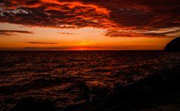 Bornholm sunset. Photograph of a sunset taken in Hammerhavn port, Bornholm back in 2016 during a sea journey royalty free stock photo