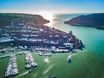 An aerial view of Dartmouth in Devon, UK. A photograph taken from the air looking at the mouth of the river Dart from Dartmouth royalty free stock photo