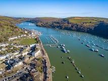 An aerial view of Dartmouth in Devon, UK stock photos
