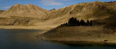 The apasible big volcano of the maule lagoon royalty free stock image