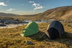 Wildcamping in Norway. This is a photograph of the tent of me and my friend on our wildcamping trip in Norway stock images