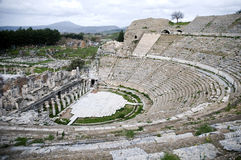 Photograph of the Theater at Ephesus. An overall view of the ancient theater in Ephesus, which is in the city of İzmir, Turkey Royalty Free Stock Image