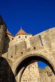 Cacassonne strenght walls, tower and arch Stock Image