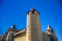 Cacassonne towers. Photograph of towers of Cacassone ,Carcassonne, France Royalty Free Stock Photo