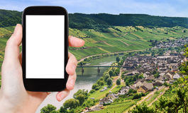 Photograph Town Zell and Moselle river, Germany Stock Photography
