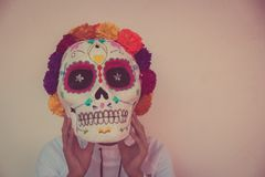 Traditional mexican catrina handcraft. Photograph of a traditional mexican catrina handcraft Royalty Free Stock Photography