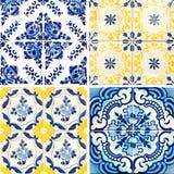 Collection of orange patterns tiles Stock Photos