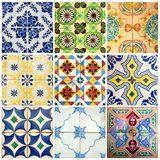 Collection of colorful patterns tiles Royalty Free Stock Photo