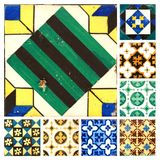 Collection of orange patterns tiles. Photograph of 8 traditional portuguese tiles in different colours and patterns Royalty Free Stock Photo