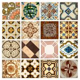 Collection of orange patterns tiles. Photograph of 16 traditional portuguese tiles in different colours and patterns Royalty Free Stock Photography