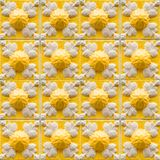 Collection of yellow patterns tiles with relief Stock Photo