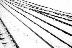 Train track in snow A Stock Image