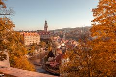View from a castle bridge on the Krumlov town center