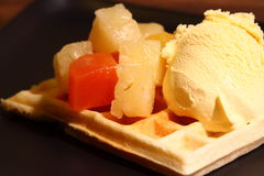 Waffle with fruit A Stock Images