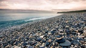 Famous pebble beach in Hualien, Taiwan. stock photos