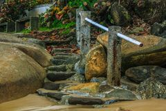 Rustic stone stair. This photograph was taken in Matinhos, Paraná, Brasil. March 18, 2018 stock photos