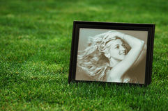 Photograph of woman on lawn Stock Photography
