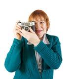 Photographe aîné avec l'appareil-photo analogique Image stock