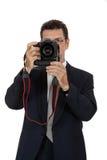 Photographe adulte d'homme avec le dslr d'appareil photo numérique d'isolement Photographie stock libre de droits