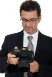 Photographe adulte d'homme avec le dslr d'appareil photo numérique d'isolement Photo libre de droits