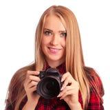 Photographe amateur de charme tenant un appareil-photo professionnel - OIN Image stock