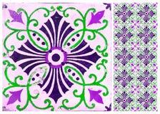 Photographe av traditionella portugisiska tegelplattor i lilor fotografering för bildbyråer