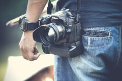 Photographe avec l'appareil-photo Photos stock