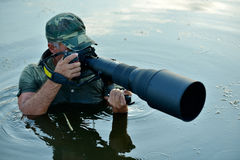 Photographe de faune extérieur, position dans l'eau Images stock