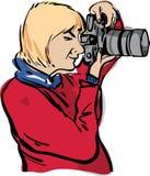 Photographe de femme avec SLR numérique images libres de droits