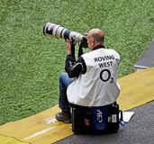 Photographe de sports chez Twickenham Image libre de droits