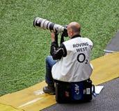 Photographe de sports chez Twickenham image libre de droits