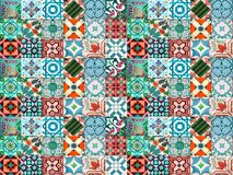 Photographe de telhas portuguesas tradicionais na turquesa e em tons alaranjados fotos de stock royalty free