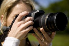 Photographe féminin Photo stock