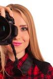 Photographe féminin attirant tenant un appareil-photo professionnel - I Photos libres de droits