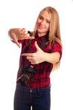 Photographe féminin faisant un cadre avec des doigts Photographie stock libre de droits