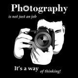 Photographe, logo noir et blanc de T-shirt Photographie stock