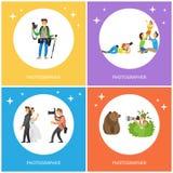 Photographe Making Pictures Bear, épousant des couples illustration de vecteur