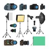 Photographe Tools Set Vector Objets de photographie Éléments de conception d'équipement de photo, accessoires Appareils photo num Photo stock
