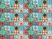 Photographe van traditionele Portugese tegels in turkooise en oranje tonen royalty-vrije stock foto's