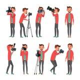 Photographe Vector Studio de photo Photographe faisant des photos Appareil photo numérique et équipement professionnel de photo p Images stock