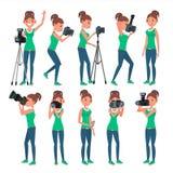 Photographe Woman Vector hotographer faisant des photos Appareil photo numérique et équipement professionnel de photo Prise de fi Photo libre de droits