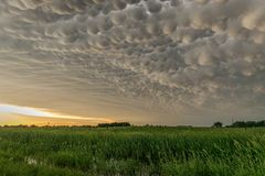 Mammatus clouds at the back of a storm in northern Nebraska stock photography