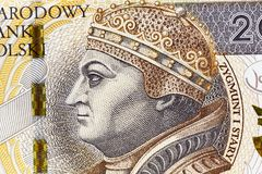 Polish Zloty closeup. Photographed close-up new Polish paper money. Banknotes worth two hundred zloty Stock Image