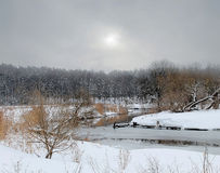River Svisloch. Photographed on a cloudy day in the vicinity of the city of Minsk, Belarus Stock Photo